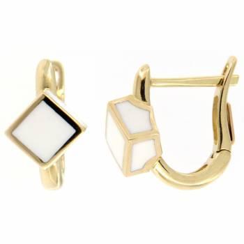 Золотые серьги Roberto Bravo c белой эмалью