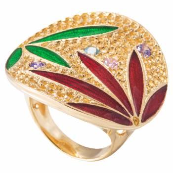Серебряное кольцо MAGIE с кварцем и цветной эмалью