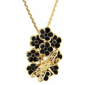 Золотой кулон Roberto Bravo с бриллиантом и черной эмалью