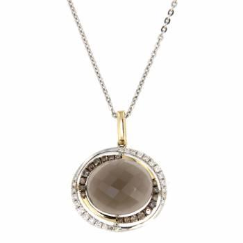 Золотое колье с бриллиантами и кварцем