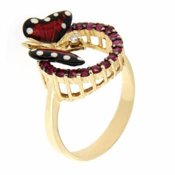Золотое кольцо Roberto Bravo c бриллиантом,сапфирами и цветной эмалью