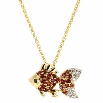 Золотое колье LUCI di GALA с бриллиантами и сапфирами
