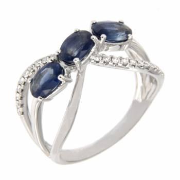 Золотое кольцо с бриллиантами и сапфирами
