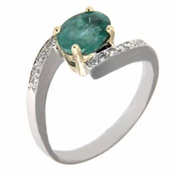 Золотое кольцо с бриллиантами и изумрудом
