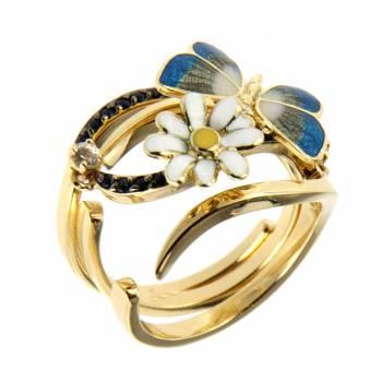 Золотое кольцо Roberto Bravo c бриллиантами, сапфирами, лейкосапфирами  и цветной эмалью