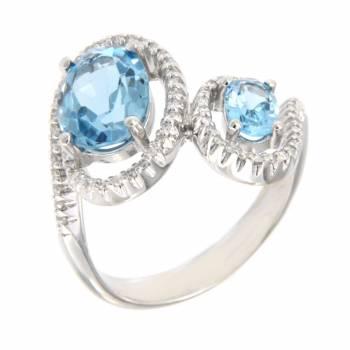 Кольцо золотое с бриллиантами и топазами