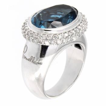 Золотое кольцо с бриллиантами и топазом