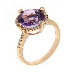 Золотое кольцо с бриллиантами и аметистом