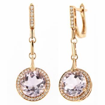 Золотые серьги с бриллиантами и аметистом