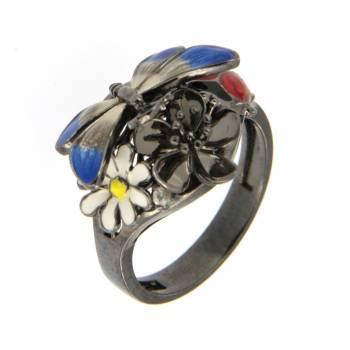 """Серебряное кольцо Roberto Bravo """"Nine3five""""c сапфиром и цветной эмалью"""