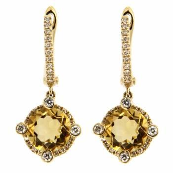 Золотые серьги с бриллиантами и цитринами