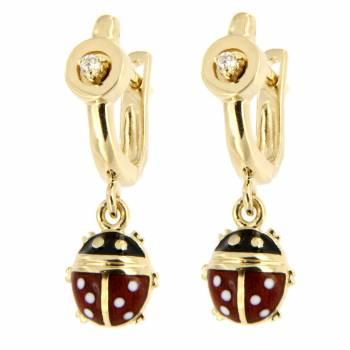 Золотые серьги Roberto Bravo с бриллиантами и цветной эмалью
