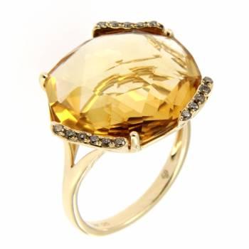 Золотое кольцо с бриллиантами и цитрином