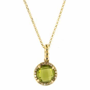 Золотое колье с бриллиантами и хризолитом