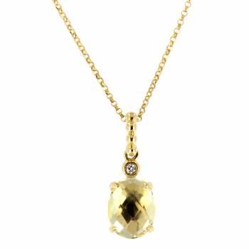 Золотое колье с бриллиантами и цитрином