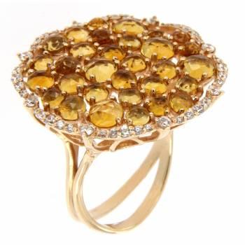 Кольцо золотое с цитринами