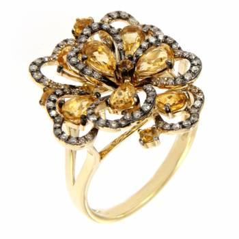 Золотое кольцо с бриллиантами и цитринами