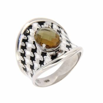 """Серебряное кольцо Roberto Bravo """"Nine3five""""c кварцем и цветной эмалью"""