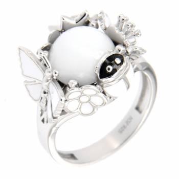 """Серебряное кольцо Roberto Bravo """"Nine3five"""" с агатом и белой эмалью"""