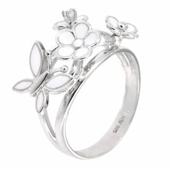 """Серебряное кольцо Roberto Bravo """"Nine3five"""" с лейкосапфиром и белой эмалью"""
