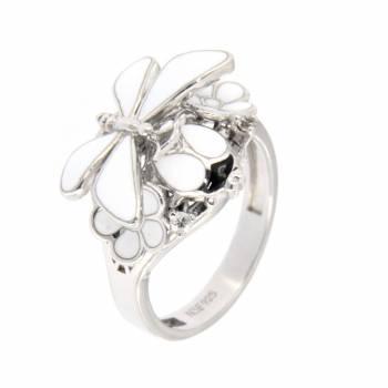 """Серебряное кольцо Roberto Bravo """"Nine3five"""" с белой эмалью"""
