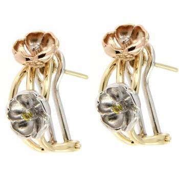 Золотые серьги Roberto Bravo с бриллиантами и сапфирами