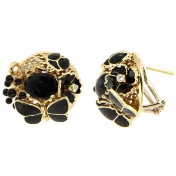 Золотые серьги Roberto Bravo с бриллиантами, лейкосапфирами, ониксом  и черной эмалью