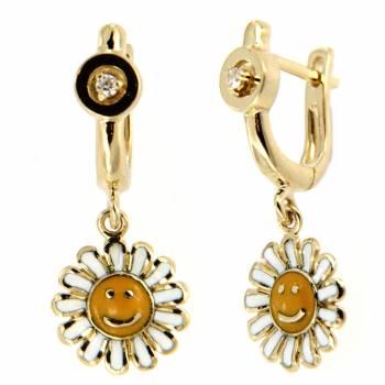 Золотые серьги Roberto Bravo c бриллиантами и цветной эмалью