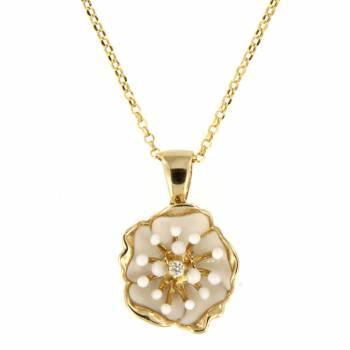 Золотой кулон Roberto Bravo с бриллиантом и белой эмалью