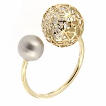 Золотое кольцо Roberto Bravo с камнями сваровски