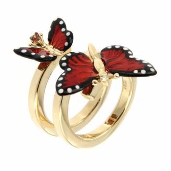 Золотое кольцо Roberto Bravo с бриллиантом и цветной эмалью