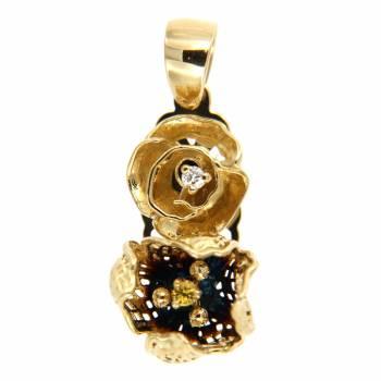 Золотой кулон Roberto Bravo с бриллиантом и цитрином