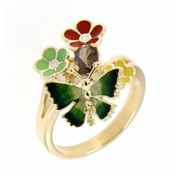 Золотое кольцо Roberto Bravo c бриллиантом, кварцем и цветной эмалью
