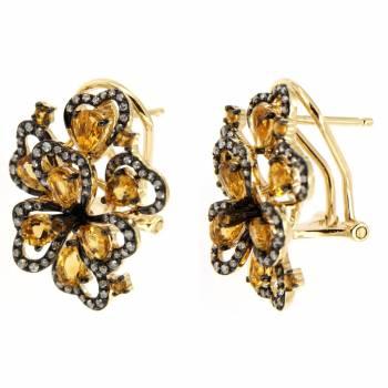 Золотые серьги с бриллиантами и цитрином