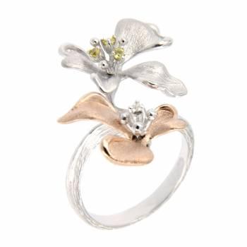 Золотое кольцо Roberto Bravo с бриллиантом и сапфирами
