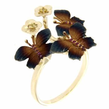 Золотое кольцо Roberto Bravo c сапфирами и рубинами