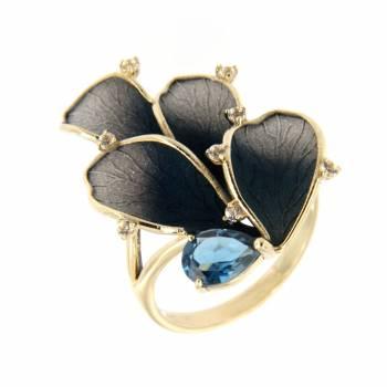 Золотое кольцо Roberto Bravo c лейкосапфирами и топазом