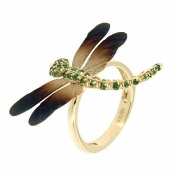 Золотое кольцо Roberto Bravo c сапфирами и тсаворитами