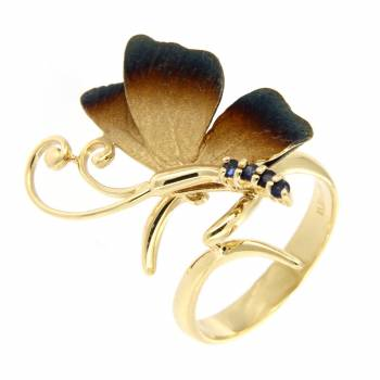 Золотое кольцо Roberto Bravo c сапфирами
