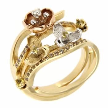Золотое кольцо Roberto Bravo c бриллиантом,сапфирами и цитринами