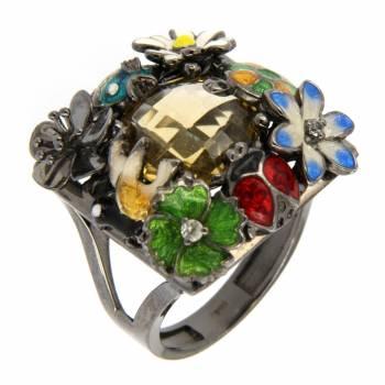 """Серебряное кольцо Roberto Bravo """"Nine3five""""с цитрином,лейкосапфирами и цветной эмалью"""