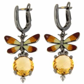 Золотые серьги Roberto Bravo с бриллиантом,цитрином и цветной эмалью