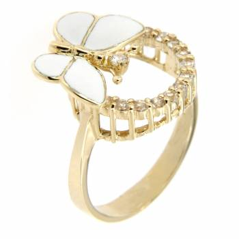 Золотое кольцо Roberto Bravo с бриллиантом, лейкосапфирами и белой эмалью