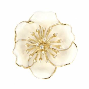 Золотой кулон Roberto Bravo c бриллиантами и белой эмалью