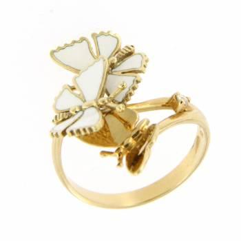 Золотое кольцо Roberto Bravo с бриллиантом и белой эмалью