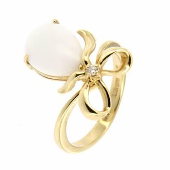 Золоте кольцо Roberto Bravo c бриллиантами и агатом
