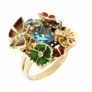 Золотое кольцо Roberto Bravo с бриллиантом, топазом и цветной эмалью