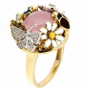Золотое кольцо Roberto Bravo с бриллиантами, кварцем и цветной эмалью
