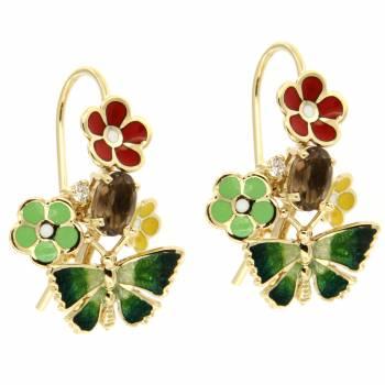 Золотые серьги Roberto Bravo c бриллиантами, кварцами и цветной эмалью