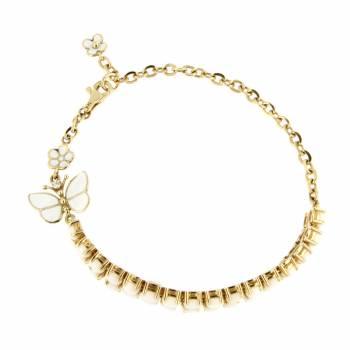 Браслет золотой Roberto Bravo с бриллиантом , агатами и белой эмалью